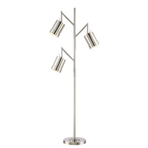 Tindra Chrome Three-Light Fluorescent 13W Floor Lamp