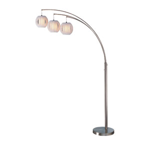 Deion Polished Steel Three-Light Arch Lamp