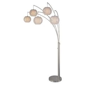 Deion Polished Steel Five-Light Fluorescent Floor Lamp