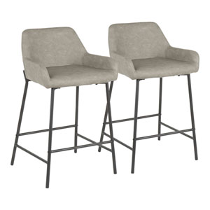 Daniella Black and Gray 33-Inch Bar Stool, Set of 2