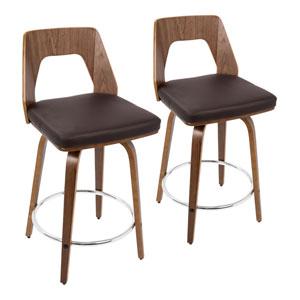 Trilogy Walnut Wood, Brown and Chrome 35-Inch Swivel Bar Stool, Set of 2