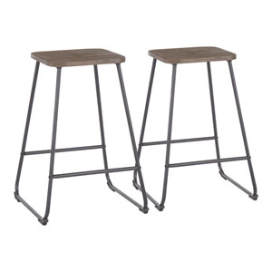 Zac Black and Espresso Wood 24-Inch Counter Stool