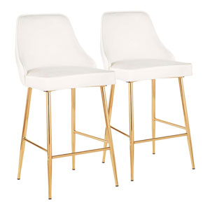 Marcel Gold and White 37-Inch Bar Stool, Set of 2