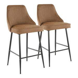 Marcel Black and Brown 37-Inch Bar Stool, Set of 2