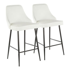 Marcel Black and White 37-Inch Bar Stool, Set of 2