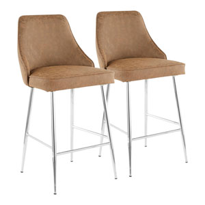 Marcel Chrome and Brown 37-Inch Bar Stool, Set of 2