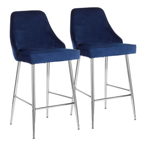 Marcel Chrome and Navy Blue 36-Inch Bar Stool, Set of 2