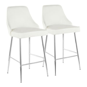 Marcel Chrome and White 37-Inch Bar Stool, Set of 2