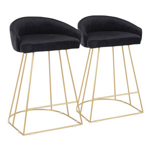 Canary Gold and Black 31-Inch Bar Stool, Set of 2