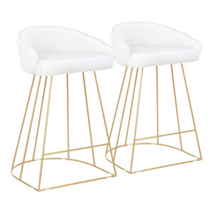 Canary Gold and White 31-Inch Bar Stool with Backrest, Set of 2