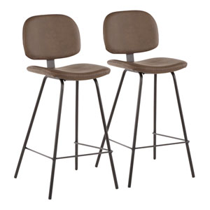 Nunzio Black and Brown 37-Inch Bar Stool, Set of 2