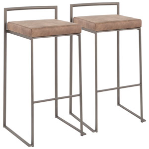 Fuji Antique and Brown 34-Inch Bar Stool, Set of 2