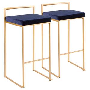 Fuji Gold and Blue 34-Inch Bar Stool, Set of 2