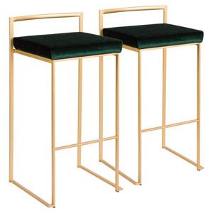Fuji Gold and Green 34-Inch Bar Stool, Set of 2