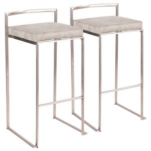 Fuji Stainless Steel and Light Gray 34-Inch Bar Stool, Set of 2