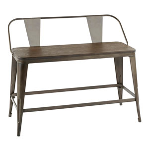Oregon Antique Metal and Espresso Bench