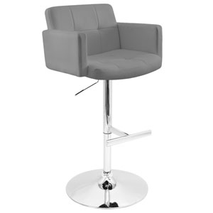 Stout Gray 38-Inch Adjustable Swivel Bar Stool