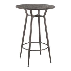 Clara Antique and Espresso Round Bar Table