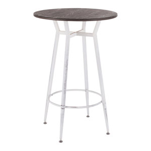 Clara Vintage White and Espresso Round Bar Table