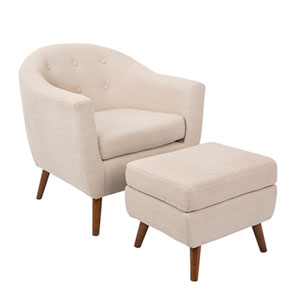 Rockwell Beige Chair with Ottoman