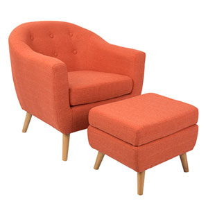 Rockwell Orange Chair with Ottoman