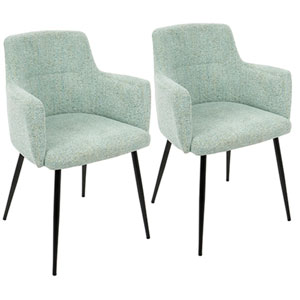 andrew Light Green and Black Arm Dining Chair, Set of 2