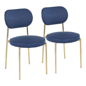 Chloe Gold and Dark Blue Satin Dining Chair, Set of 2