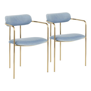 Demi Gold and Light Blue Arm Dining Chair, Set of 2