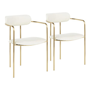 Demi Gold and Cream Arm Dining Chair, Set of 2