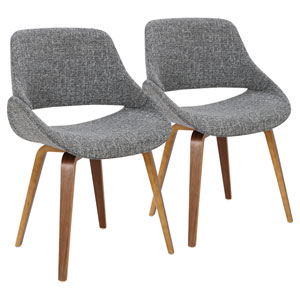 Fabrizzi Walnut and Gray Dining Chair, Set of 2