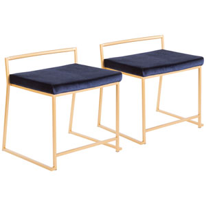 Fuji Gold and Blue Dining Chair, Set of 2