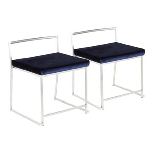 Fuji Brushed Stainless Steel and Blue Dining Chair, Set of 2