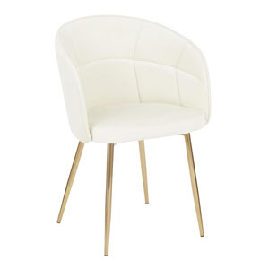 Lindsey Gold and Cream Arm Dining Chair