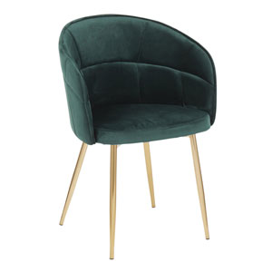 Lindsey Gold and Green Arm Dining Chair