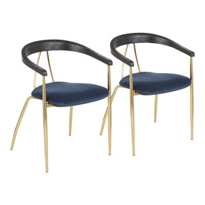 Vanessa Gold, Blue and Black Wood Arm Dining Chair, Set of 2