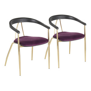 Vanessa Gold, Purple and Black Wood Arm Dining Chair, Set of 2