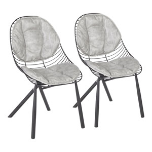 Wired Black and Light Gray Dining Chair, Set of 2