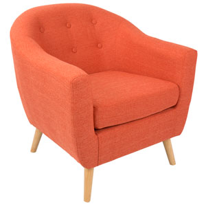 Rockwell Natural Wood and Orange Arm Accent Chair
