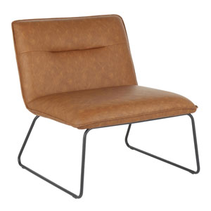 Casper Black and Camel Armless Accent Chair