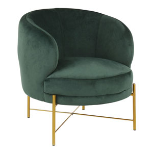 Chloe Gold and Emerald Green Arm Accent Chair
