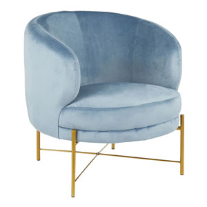 Chloe Gold and Powder Blue Arm Accent Chair