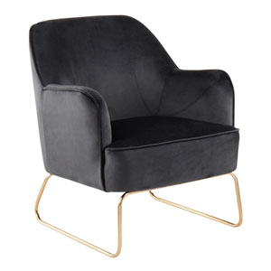 Campania Gold and Black Arm Accent Chair