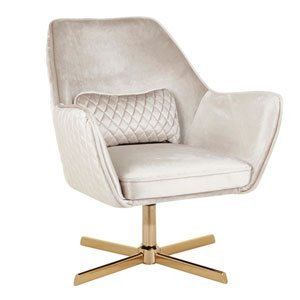 Diana Gold and Champaign Arm Accent Chair with 360 Degree Swivel