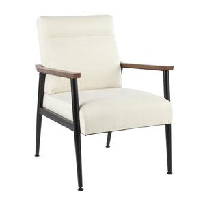 Nigiri Black, Cream and Walnut Wood Arm Accent Chair