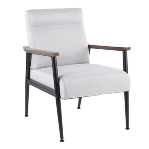 Nigiri Black, Light Gray and Walnut Wood Arm Accent Chair