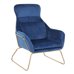 Penelope Gold and Blue Arm Accent Chair