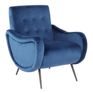 Rafael Black and Blue Arm Accent Chair