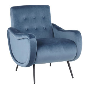 Rafael Black and Teal Arm Accent Chair