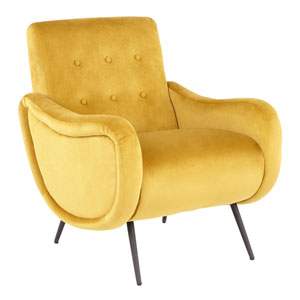 Rafael Black and Yellow Arm Accent Chair