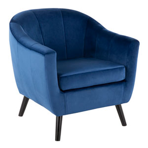 Rockwell Black Wood and Blue Arm Accent Chair